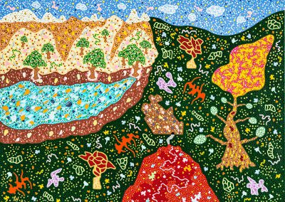 19_Une forêt verte au ciel exotique_80x60cm_Acrylique sur toile